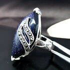 New Blue Gold Sand Stone Marcasite 925 STERLING SILVER RING pick Size 7/8/9/10