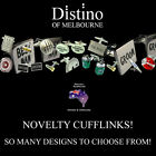 Novelty Cufflinks by Distino. Various cuff link designs for weddings, gifts, etc