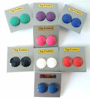 2cm sized shaped plastic button style stud earrings ReTro, 8 colour options