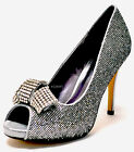 New women's shoes rhinestones stilettos peep toe party prom wedding silver EU39