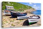 cornwall coast boats moored seaside canvas print gift present
