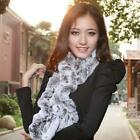 Black Neck Warmer Scarf 100% Real Farm Rex Rabbit Fur Shawl Wrap Cape Scarves