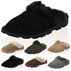 WOMENS FAUX SUEDE FAUX FUR LADIES SLIP ON GRIP SOLE MULE SLIPPERS SHOES SIZE 3-8