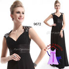 09672 Chiffon Black V-Neck Empire Line Maxi Prom Evening Long Dress UK 8-18