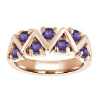 0.70 Ct Round Purple VS Amethyst 925 Rose Gold Plated Silver Ring