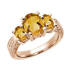 1.95 Ct Oval Yellow VS Citrine 925 Rose Gold Plated Silver 3-Stone Ring