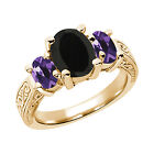 2.53 Ct Black Onyx Purple Amethyst 925 Yellow Gold Plated Silver 3-Stone Ring