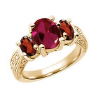 3.49 Ct Oval Red Created Ruby Garnet 925 Yellow Gold Plated Silver 3-Stone Ring