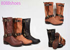 Women's Fashion 3 Colors Low Heel Zipper Buckle Round Toe Riding Boot Shoes 6-10