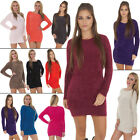New Ladies Womens Fluffy Furry Boat Neck Winter Jumper Dress Size 8 10 12 14