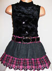 GIRLS BLACK FUR SEQUIN GREY PINK MIX TARTAN RUFFLE WINTER PARTY DRESS with BELT