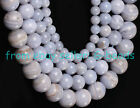 6MM 8MM 10MM 12MM ROUND BLUE CHALCEDONY BEAD STRAND 15""