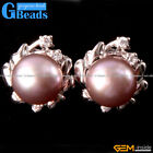 Fashion Pretty 9-10mm Freshwater Pearl White Gold Plated Frame Stud Earrings
