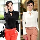 Women Regular Girl OL Lapel V Neck Chiffon Shirt Blouse Long Sleeve Hot New N98B