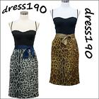 dress190 CLEARANCE BLACK & LEOPARD ROCKABILLY VINTAGE PROM PARTY COCKTAIL DRESS