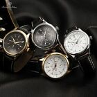 KS 4 Colors Men's Automatic Mechanical Date Day 24Hrs Leather Wrist Watch