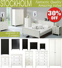 Stockholm Bedroom Furniture, bedside table, chest of drawers, wardrobe, bed ....