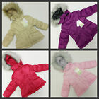 New Girls London Fog Coat Jacket Lined Faux Fur Hood Pink Beige Purple Hot Pink