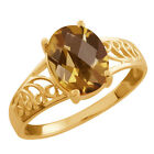 1.60 Ct Oval Checkerboard Champagne Quartz 925 Yellow Gold Plated Silver Ring
