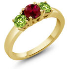 1.20 Ct Round Red Created Ruby Green Peridot 925 Yellow Gold Plated Silver Ring