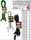 extension cord power cable 3 outlet indoor 16 gauge ul listed