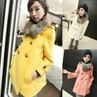 Womens Warm Faux Rabbit Hair Collar Double-Breasted Coat Outerwear Jacket Parka