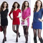 Womens Shoulder Board V Neck OL Hip Package Pleated False Two Pieces Party Dress