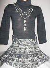GIRLS GREY FAIR ISLE PRINT SKIRT WINTER PARTY DRESS with NECKLACE