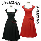 dress190 BLACK or RED CAP SLEEVE 50s ROCKABILLY PIN-UP VINTAGE PARTY DRESS 8-24
