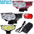 New SolarStorm X3 MTB Bike Light Bicycle 3 Cree L2 6000 LM T6 Waterproof Battery