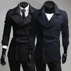 Unique Design Jackets Men's Slim Fit Double-breasted Pea Coat Overcoat XS S M L