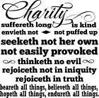 Charity Suffereth Long Love Christian Bible Verse Vinyl Wall Decal Sticker Quote
