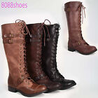 Women's Zipper Buckle Military Lace Up Low Heel  Knee High Boot Shoes 5.5 -11