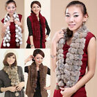 Fashion Women Rabbit Fur Collar Neck Wrap Lady Girl Winter Warm Ball Scarf Shawl