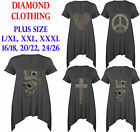 Plus Size Ladies Studded Cross Heart Peace Skull Hankey Top Womens CapSleeve top