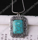 Vintage Antique Silver Stone Rectangle Turquoise Pendant Chain Necklace