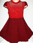 GIRLS RED & BLACK CHECK PRINT DIAMONTE KNIT WINTER PARTY DRESS