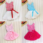 Baby Girls Princess Sundress Skirt Kids Stripe Tutu Puffy Dress Clothes 2-7Year