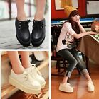 Trendy Womens Ladies Lace Up Platform Flats Goth Punk Creepers Shoes Black/White