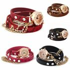 Lady Shiny Rhinestone Long Leather Strap Chain Quartz Bracelet Watches New