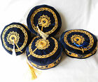 Smoking cap hat Tassel beads navy blue velvet S M L XL  NEW