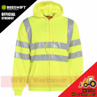 Hi Viz Hooded Safety Sweatshirt Mens Visibility Workwear Security Hoody Jumper