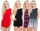 MOTEL ROCKS LOMAS PLAYSUIT IN RED, BLACK, VERTICLE SQUARE OR NEON AZTEC