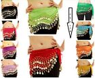 3 ROWS Belly dance costume belt skirt hip wrap outfit gold coin bead scarfBelly