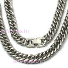Mens Boys 9mm Stainless Steel Round Sides Double Cuban Curb Necklace