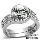 Women's Ring Set Simulated Diamond Wedding Stainless Steel Engagement - TK1155