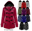 NEW LADIES HOOD DUFFLE TRENCH POCKET COAT WOMENS HOODED JACKET SIZES 8 10 12 14