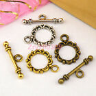 60Sets Tibetan Silver,Antiqued Gold,Bronze Flower Connector Toggle Clasps M1391