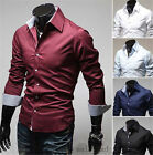 New Mens Luxury Stylish Casual Dress Slim Fit Shirts Long Sleeve 5 Colors 4 Size