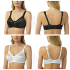 Ladies Womens Lace White or Black Firm Control Soft Cup Non Padded Bra Plus Size